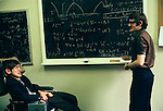 Stephen Hawking 1981 Cambridge University tutorial with student Ian Moss. Ian Moss is now Professor of Theoretical Cosmology at the University of Newcastle UK
