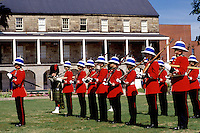 New Brunswick, Fredericton, NB, Canada, Re-enactment of the Changing of the Guards at Officer's Square in Fredericton. Soldiers stand at attention in formation.