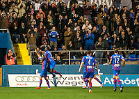 Navarro, Juanfran, Barral and B. Diawa, Levante U.D. players celebring the victory at Levante U.D. 1 - 0 Almeria C.F. in BBVA League match played at the Ciudad de Valencia stadium (Valencia). Scoreboard: Barral for Levante. (photo: Francesc Juan)