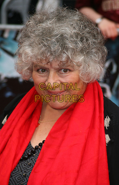 """MMIRIAM MARGOLYES.The World Premiere of """"Harry Potter and the Half-Blood Prince"""" at the Odeon cinema, Leicester Square, London, England..July 7th 2009. .Half Blood headshot portrait red scarf  black.CAP/JIL.©Jill Mayhew/Capital Pictures"""
