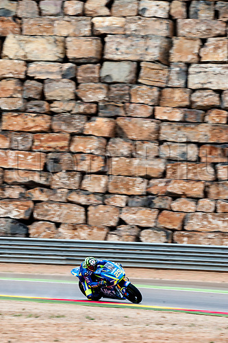 22nd September 2017, MotorLand Aragon, Alcaniz, Spain; MotoGP of Aragon, Friday free practice; Andrea Iannone of the SUZUKI ECSTAR Motogp Team rounds the bend with the Motorland iconic wall in the background