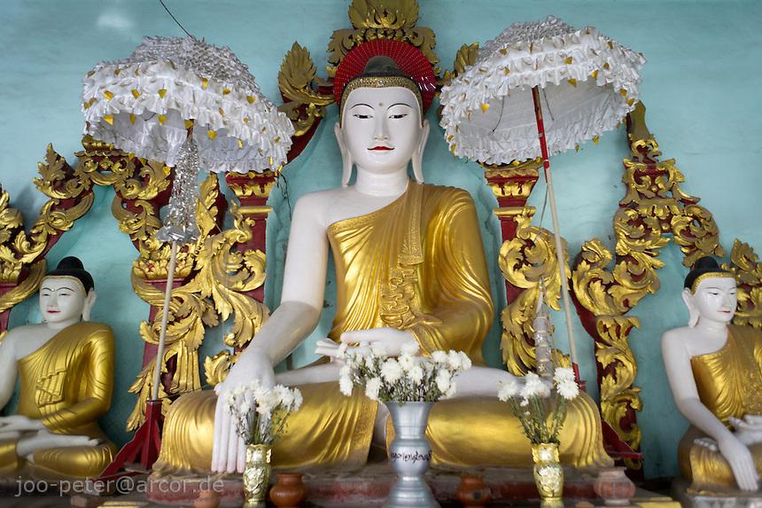 buddha shrine in Shwekyimyint pagoda  ,Mandalay, Myanmar, 2011
