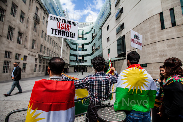 """London, 16/08/2014. Today, """"The Kurdish People's Assembly UK"""" held a demonstration in support and solidarity with the people of Sinjar, and its region, recently attacked by the group Islamic State of Iraq and Syria (ISIS). The Campaigner called for the international community not to ignore the ongoing massacre against the Kurdish people and other ethnic and religious groups including members of the Shia, Sufi, Christian and Yezidi communities and to put political pressure against States, such as Turkey, Saudi Arabia and Qatar, allegedly accused of """"supporting jihadism in the region"""". The demonstration started outside the BBC HQ in Portland Place and ended outside the US Embassy."""