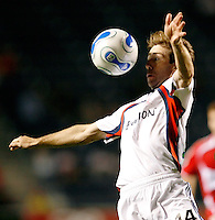 New England Revolution midfielder Steve Ralston (14) eyes the ball.  The Chicago Fire defeated the New England Revolution 2-1 in the quarterfinals of the U.S. Open Cup at Toyota Park in Bridgeview, IL on August 23, 2006...