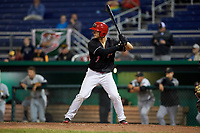 Batavia Muckdogs left fielder Michael Donadio (7) at bat during a game against the West Virginia Black Bears on June 18, 2018 at Dwyer Stadium in Batavia, New York.  Batavia defeated West Virginia 9-6.  (Mike Janes/Four Seam Images)