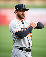 Andrew Aplin (2) of the Fresno Grizzlies before the game against the Salt Lake Bees in Pacific Coast League action at Smith's Ballpark on April 17, 2017 in Salt Lake City, Utah. The Bees defeated the Grizzlies 6-2. (Stephen Smith/Four Seam Images)