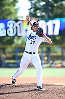 Kevin Ginkel (37) of the Hillsboro Hops pitches against the Spokane Indians at Ron Tonkin Field on July 22, 2017 in Hillsboro, Oregon. Spokane defeated Hillsboro, 11-4. (Larry Goren/Four Seam Images)