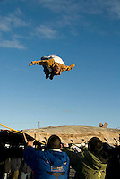 Pryce Levitt backflips on the blanket toss, Nalukataq festival, Barrow, Alaska, June 2008