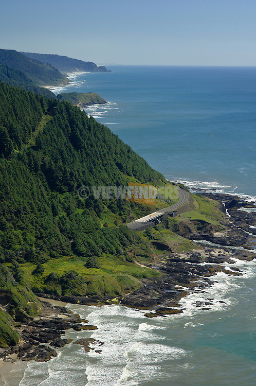 Oregon coast from lookout at top of Cape Perpetua; USFS Visitor Center and Highway 101.