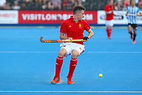 Phil Roper of England receives a pass during the Hockey World League Semi-Final match between England and Argentina at the Olympic Park, London, England on 18 June 2017. Photo by Steve McCarthy.