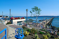 White Rock, BC, British Columbia, Canada - White Rock Pier and Seaside Promenade Walkway along Semiahmoo Bay, Summer