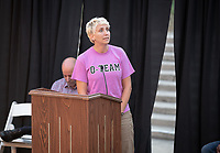 Tamara Himmelstein, Assistant Dean of Students and Director, Office of Student Life<br /> The O-Team cheers for parents and students at the Welcome to Oxy event at the Remsen Bird Hillside Theater (Greek Bowl) as part of the official Orientation welcome. Incoming first-years and their families are welcomed by enthusiastic O-Team members and other members of the community during Occidental College's Fall move-in and orientation for the class of 2022, Aug. 23, 2018.<br /> (Photo by Marc Campos, Occidental College Photographer)