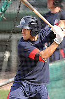 Infielder Carlos Asuaje (20) of the Greenville Drive takes batting practice before a game against the Kannapolis Intimidators on Friday, April 11, 2014, at Fluor Field at the West End in Greenville, South Carolina. Greenville won, 13-2. (Tom Priddy/Four Seam Images)