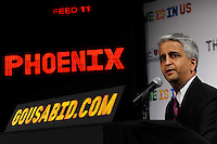 U.S. Soccer President and USA Bid Committee Chairman Sunil Gulati announces Phoenix as one of the 18 cities to be submitted to FIFA as part of the bid to host the 2018 or 2022 FIFA World Cup at the ESPN Zone in Times Square, NYC, NY, on January 12, 2010.