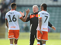 Blackpool's Manager Terry McPhillips celebrates his sides win with Curtis Tilt and Nathan Delfouneso<br /> <br /> Photographer Kevin Barnes/CameraSport<br /> <br /> The EFL Sky Bet League One - Plymouth Argyle v Blackpool - Saturday 15th September 2018 - Home Park - Plymouth<br /> <br /> World Copyright &copy; 2018 CameraSport. All rights reserved. 43 Linden Ave. Countesthorpe. Leicester. England. LE8 5PG - Tel: +44 (0) 116 277 4147 - admin@camerasport.com - www.camerasport.com
