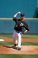 Pittsburgh Pirates starting pitcher Ryan Vogelsong (14) delivers a pitch during a Spring Training game against the Boston Red Sox on March 9, 2016 at McKechnie Field in Bradenton, Florida.  Boston defeated Pittsburgh 6-2.  (Mike Janes/Four Seam Images)