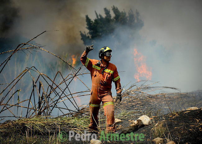 Members of the fire brigade work around the area where a fire burns in Montserrat, on July 02, 2012, near Valencia.(c)  Pedro ARMESTRE