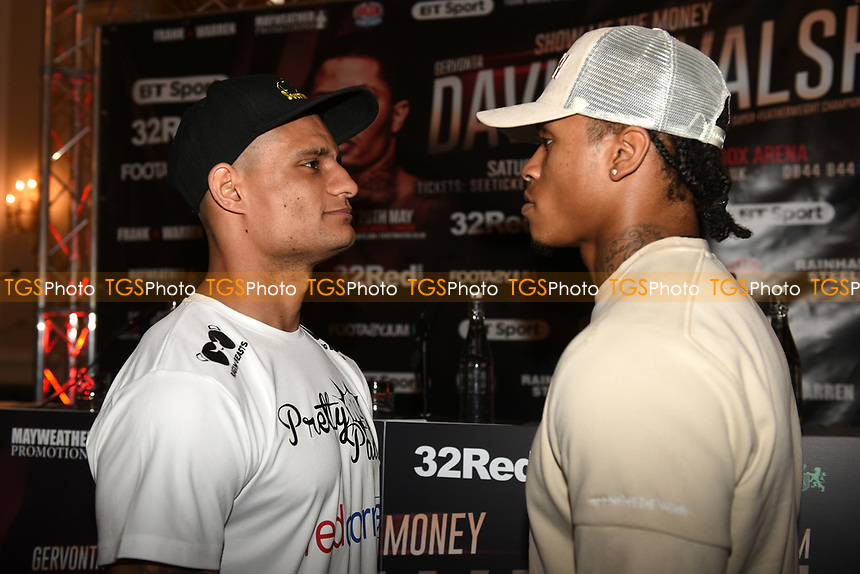 Chris Hobbs (L) and Anthony Yarde go head to head during a Press Conference at the Landmark Hotel on 18th May 2017