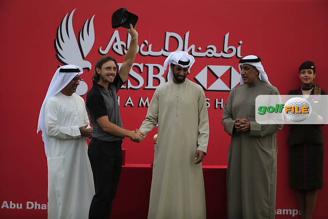 Tommy Fleetwood (ENG) winner of the Abu Dhabi HSBC Championship, Abu Dhabi Golf Club, Abu Dhabi,  United Arab Emirates. 22/01/2017<br /> Picture: Golffile | Fran Caffrey<br /> <br /> <br /> All photo usage must carry mandatory copyright credit (&copy; Golffile | Fran Caffrey)