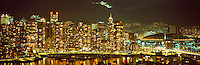 "City of Vancouver Skyline and Downtown at Yaletown and ""False Creek"", BC, British Columbia, Canada, at Night - Panoramic View"