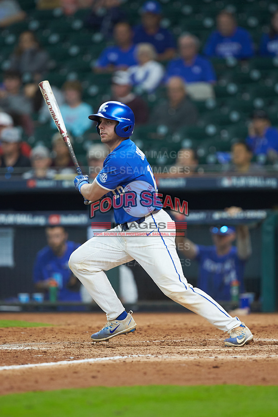 Troy Squires (16) of the Kentucky Wildcats follows through on his swing against the Louisiana Ragin' Cajuns in game seven of the 2018 Shriners Hospitals for Children College Classic at Minute Maid Park on March 4, 2018 in Houston, Texas.  The Wildcats defeated the Ragin' Cajuns 10-4. (Brian Westerholt/Four Seam Images)