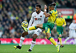 Lys Mousset of Sheffield United and Onel Hernandez of Norwich City battle for the ball during the Premier League match at Carrow Road, Norwich. Picture date: 8th December 2019. Picture credit should read: James Wilson/Sportimage