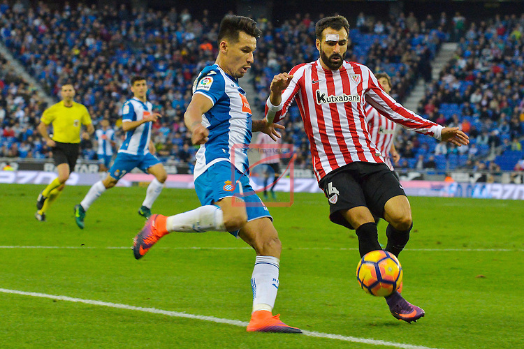League Santander 2016/2017. Game: 11.<br /> RCD Espanyol vs Athletic Club: 0-0.<br /> Hernan Perez vs Mikel Balenziaga.