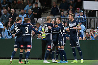 17th November 2019; Jubilee Oval, Sydney, New South Wales, Australia; A League Football, Sydney Football Club versus Melbourne Victory; Melbourne celebrate after Ola Toivonen of Melbourne Victory opens the scoring in the 45th minute