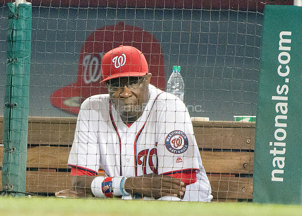 Washington Nationals manager Dusty Baker (12) watches fourth inning action from the dugout against the New York Mets at Nationals Park in Washington, D.C. on Tuesday, June 28, 2016.  The Nationals won the game 5 - 0.<br /> Credit: Ron Sachs / CNP/MediaPunch ***FOR EDITORIAL USE ONLY***