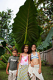 FRENCH POLYNESIA, Moorea. Portrait of kids standing under palm leaf.