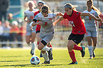 KANSAS CITY, MO - DECEMBER 02: Holly Talbut-Smith (2) of Carson-Newman University attempts to dribble past Annie Parscale (24) of the University of Central Missouri during the Division II Women's Soccer Championship held at the Swope Soccer Village on December 2, 2017 in Kansas City, Missouri. (Photo by Doug Stroud/NCAA Photos/NCAA Photos via Getty Images)