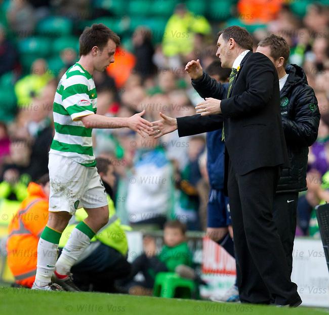 Paul McGowan gets a handskahe from Tony Mowbray