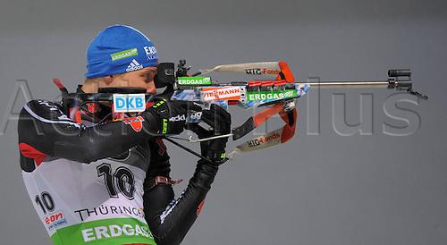 07 01 2011   Oberhof IBU World Cup Biathlon Sprint Men 10km Andreas Birnbacher ger  in the shooting regime of the  Biathlon World Cup 2010 2011