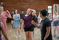 Incoming Occidental College first-year students learn to salsa dance as part of OxyEngage, Aug. 21-22, 2018.<br /> OxyEngage is a pre-orientation program that introduces incoming students to the vibrant city of Los Angeles. Over two days, upperclassmen facilitators lead trips to experience culture, film, food, nature, social justice, the urban environment, and much more! On an OxyEngage trip you will make fast friends, get to know your surrounding area, and find some stunning places you will want to return to time and time again.<br /> (Photo by Marc Campos, Occidental College Photographer)