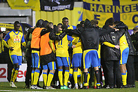 Haringey have a group hug at the end of the game during Haringey Borough vs AFC Wimbledon, Emirates FA Cup Football at Coles Park Stadium on 9th November 2018