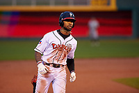 Lansing Lugnuts DJ Neal (7) rounds the bases after hitting a home run during a Midwest League game against the Wisconsin Timber Rattlers at Cooley Law School Stadium on May 2, 2019 in Lansing, Michigan. Lansing defeated Wisconsin 10-4. (Zachary Lucy/Four Seam Images)