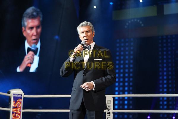 Michael Buffer.Boxing. Lebedev VS Cox. Crocus City Hall, Moscow, Russia..April 4th, 2012.sport half length black tuxedo microphone .CAP/PER/SB.©SB/PersonaStars/CapitalPictures