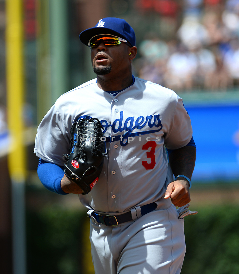 Los Angeles Dodgers Carl Crawford (3) during a game against the Chicago Cubs on June 2, 2016 at Wrigley Field in Chicago, IL. The Cubs beat the Dodgers 7-2.
