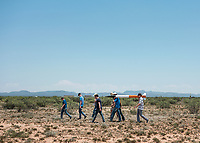 Students from the University of Washington set up their rocket for launch at the Spaceport America Cup near the town of Truth or Consequences, New Mexico, Thursday, June 22, 2017. The International Intercollegiate Rocket Engineering Competition hosted over 110 teams from colleges and universities in eleven countries. Students launched solid, liquid, and hybrid rockets to target altitudes of 10,000 and 30,000 feet. The 2017 Spaceport America Cup winner was the University of Michigan, Ann Arbor, Team 79.<br /> <br /> Photo by Matt Nager