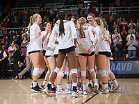 STANFORD, CA - December 1, 2017: Team at Maples Pavilion. The Stanford Cardinal defeated the CSU Bakersfield Roadrunners 3-0 in the first round of the NCAA tournament.