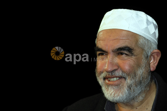 Sheikh Raed Salah, the leader of the Islamic Movement in Israel attends a press conference for the Palestinian National and Islamic leaders in Jerusalem to discuss the visit of U.S. President Barack Obama to Jerusalem next month, in Jerusalem on  February 24, 2013. Photo by Mahfouz Abu Turk