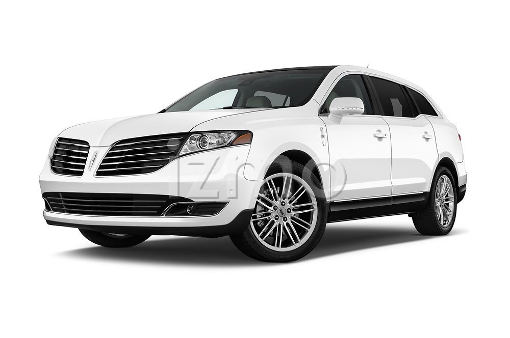 Stock pictures of low aggressive front three quarter view of a 2018 Lincoln MKT Reserve 5 Door SUV