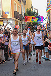Participants during a high-heel race as part of Gay Pride month in the neighbourhood of Chueca on July 4, 2019.on July 04, 2019 in Madrid, Spain.(ALTERPHOTOS/ItahisaHernadez)