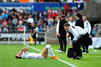 Bersant Celina of Swansea City winces in pain during the Sky Bet Championship match between Swansea City and Nottingham Forest at the Liberty Stadium, in Swansea, Wales, UK. Saturday 15 September 2018
