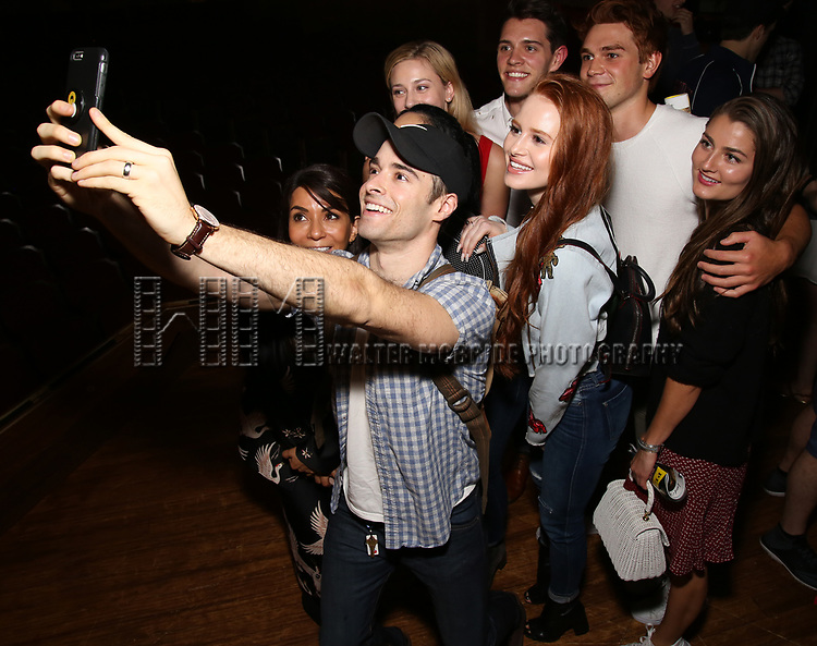 "Corey Cott with Marisol Nichols, Lili Reinhart, Madelaine Petsch, Casey Cott, KJ Apa and Rachel Matthews backstage at Broadway's ""Bandstand"" at the Bernard Jacobs Theate on May 19, 2017 in New York City."