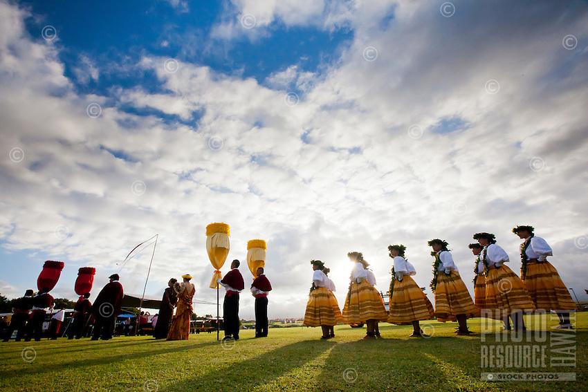The women of Halau Na Hula o Kaohikukapulani preparing to perform at the 2011 Kauai Polynesian Festival
