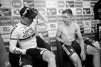 Fellow countrymen André Greipel (DEU/Lotto-Belisol) & Tony Martin (DEU/OPQS) catch up at the the finishline press tent<br /> <br /> 2014 Belgium Tour<br /> stage 4: Lacs de l'Eau d'Heure - Lacs de l'Eau d'Heure (178km)