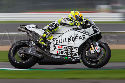 26th August 2017, Silverstone Circuit, Northamptonshire, England; British MotoGP, Qualifying; Pull&Bear Aspar Team MotoGP rider Alvaro Bautista in the early damp conditions
