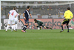 12 JUN 2010:  Clint Dempsey (USA) looks on as his goal strike is bobbled by goalie Robert Green (ENG) for the equalizing goal of the match.   The England National Team played the United States National Team played to a 1-1 tie at Royal Bafokeng Stadium in Rustenburg, South Africa in a 2010 FIFA World Cup Group C match.