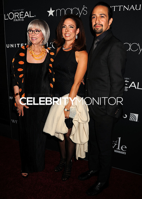 NEW YORK CITY, NY, USA - SEPTEMBER 18: Rita Moreno, Fernanda Fisher and Lin Manuel Miranda arrive at the 2014 Icons Of Style Gala Hosted By Vanidades held at the Mandarin Oriental Hotel on September 18, 2014 in New York City, New York, United States. (Photo by Celebrity Monitor)